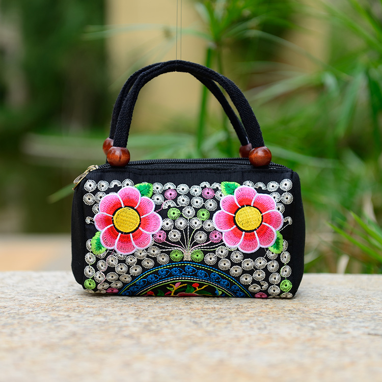 New top designer beautiful design unique womens handmade flower embroidered accessorize fabric <strong>handbags</strong> for clearance