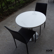 quartz stone round engineered marble top dining table
