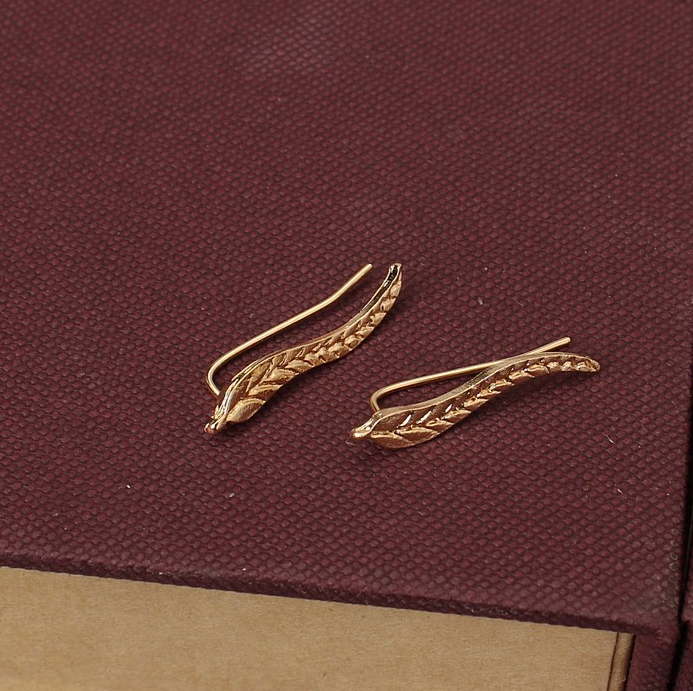 New Simple design stud earrings for women gold color leaf earrings plating 14k gold earrings for women jewelry online shop china