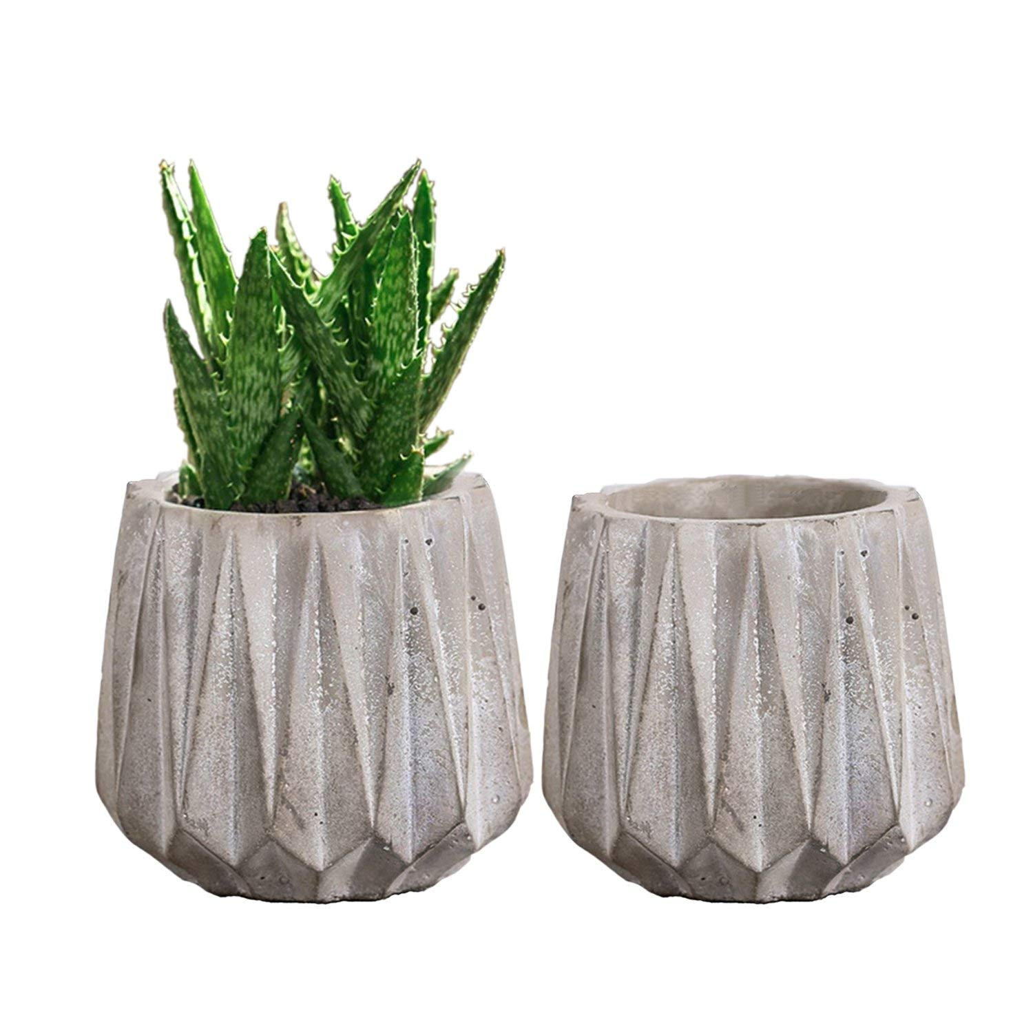 Cement Succulent Planters Pots 3.5'', Cactus Pots Container Window Boxes with Drainage Grey for Home Office Decor Set of 2