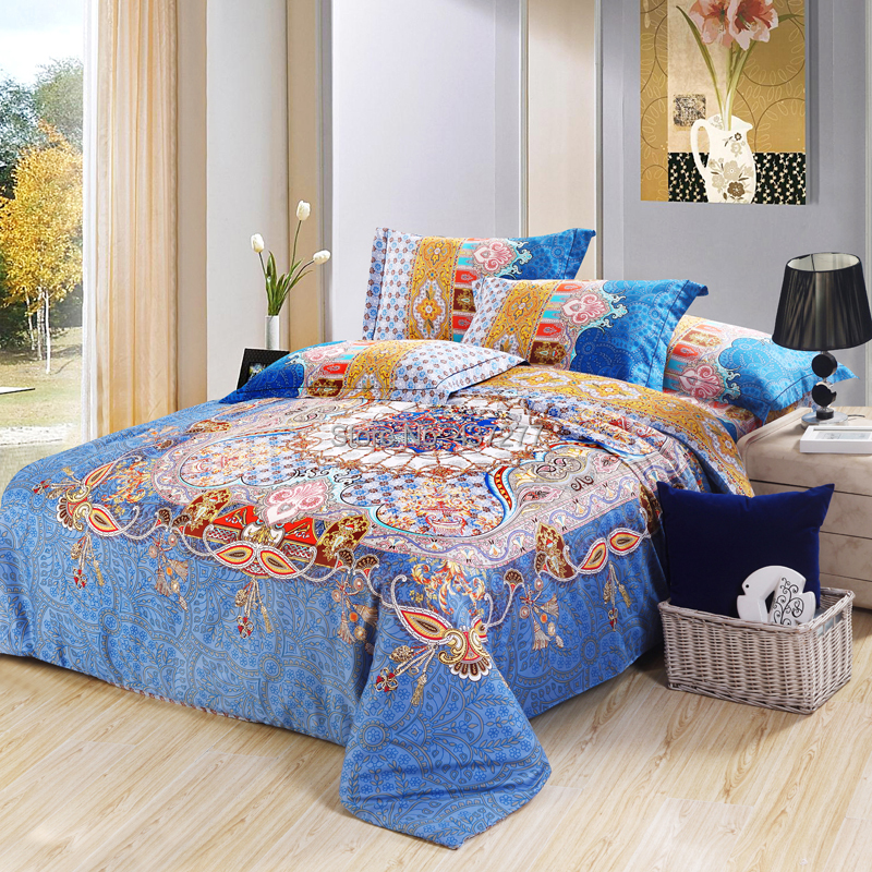 Reactive printing super cotton bohemian bedding set home decor with reversible duvet cover sheet 4/5pc comforter sets queen king
