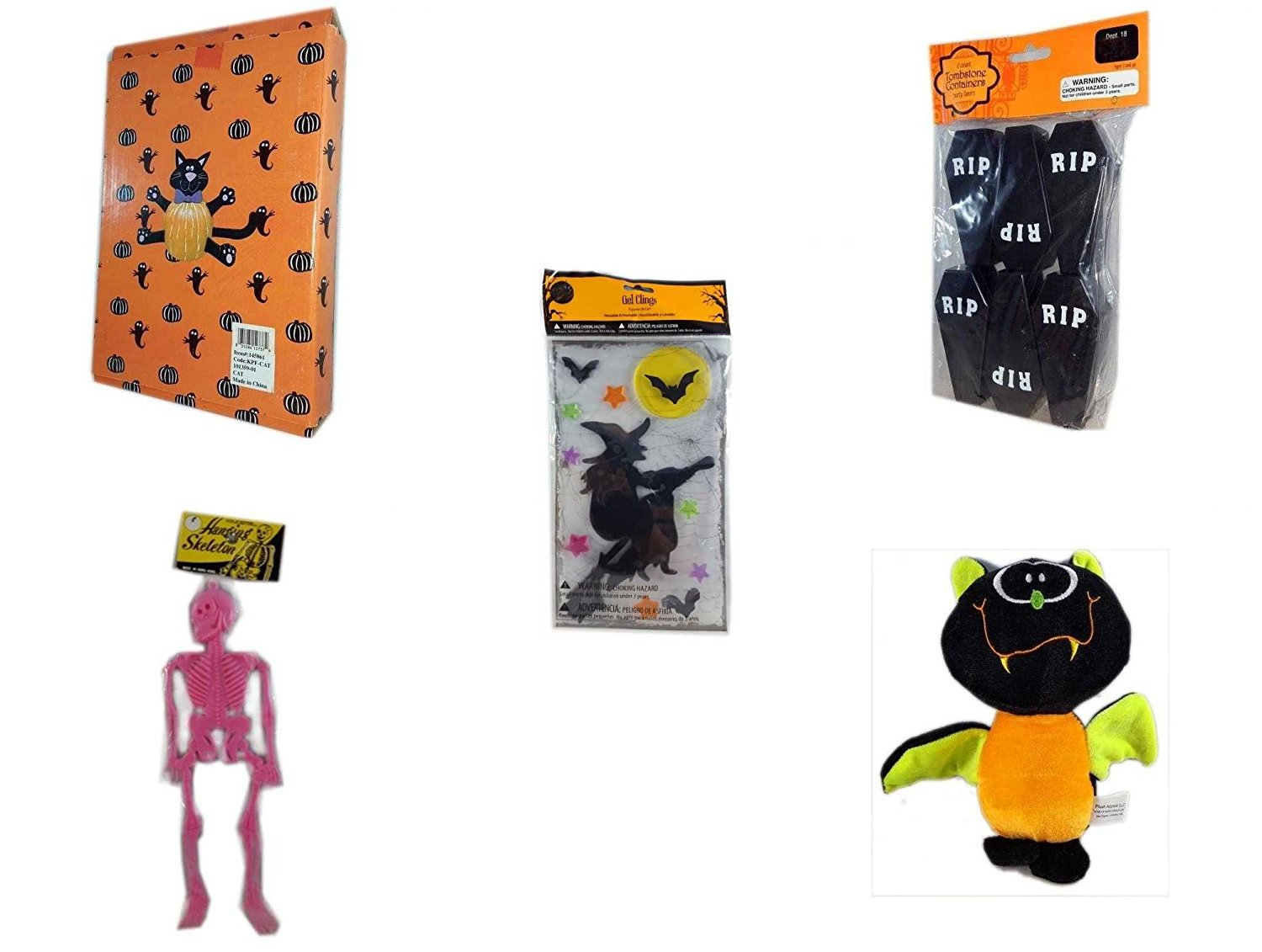 Halloween Fun Gift Bundle [5 piece] - Halloween Cat Pumpkin Push In 5 Piece Head Arms Legs - Tombstone Containers Party Favors 6 Count - Gel Clings Witch, Bats, Stars - Hanging Skeleton Pink - Plush