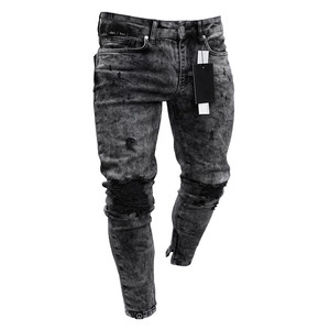 Men's Ripped Skinny Distressed Destroyed Slim Fit Stretch Biker Jeans Pants For Men With Holes