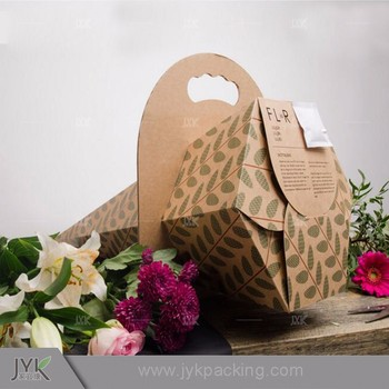 Custom Logo Carrier Flower Bag Design Own Kraft Brown Paper Carrier