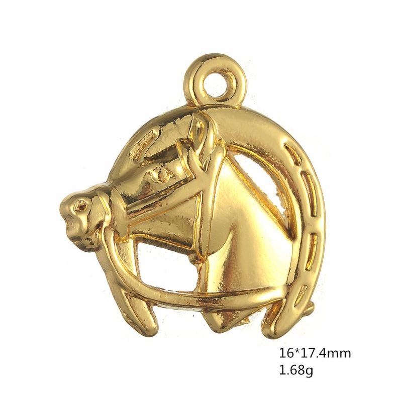 2014 Fashion antique bronze Vintage Horse With Horseshoe Pendant Charms(H106862)
