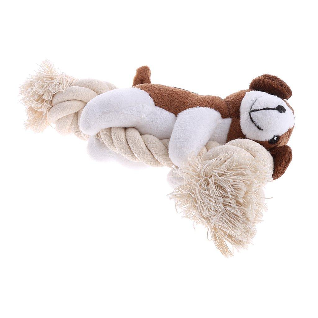 NNDA CO Puppy Dog Pet Toy Cute Soft Stuffed Squeaker Sound Toy Bear Plush Chew Chewing,1PC(Dark Brown)