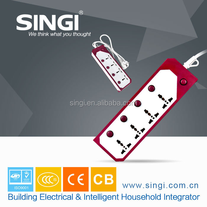 Good price red and white colors with push botton Europe 2500W 220V 16A standards extension socket outlet