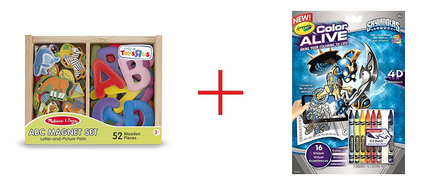 Melissa & Doug ABC and Animal Magnet Set and Crayola Color Alive - Skylanders - Bundle