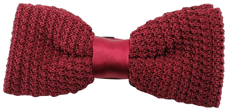 ab76ea951722 Get Quotations · Knightsbridge Neckwear Mens Plain Knitted Bow Tie -  Burgundy