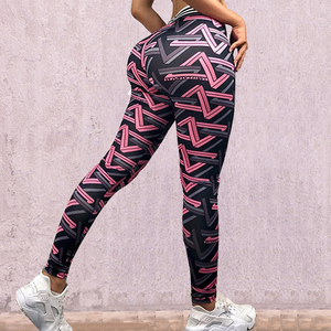 9a59ea17267 Fashion Striped Print Push Up Slim Jeggings Sporting Pants Fitness Women  Yoga Leggings High Waisted Workout