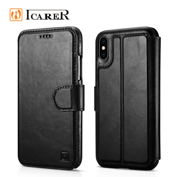 ICARER Simple Design Mobile Cover Phone Wallet Case For iPhone Xs Max