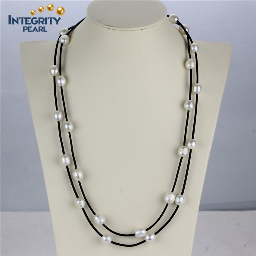 Modern Pearl Necklace Design 10mm Aa- Rice Leather And Pearl ...