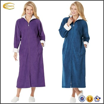 zipper front robes full length ecoach wholesale oem full zipfront robe handy sideseam pockets bright white trimmed oem zipfront sideseam