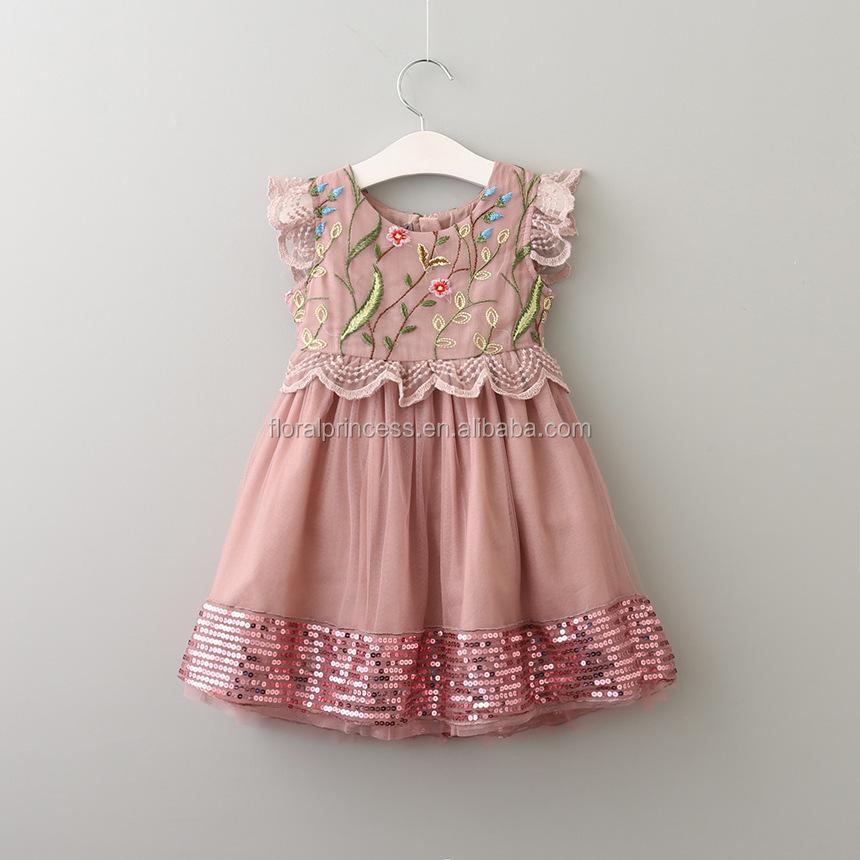 Venta al por mayor vestidos bordados para niñas-Compre online los ...
