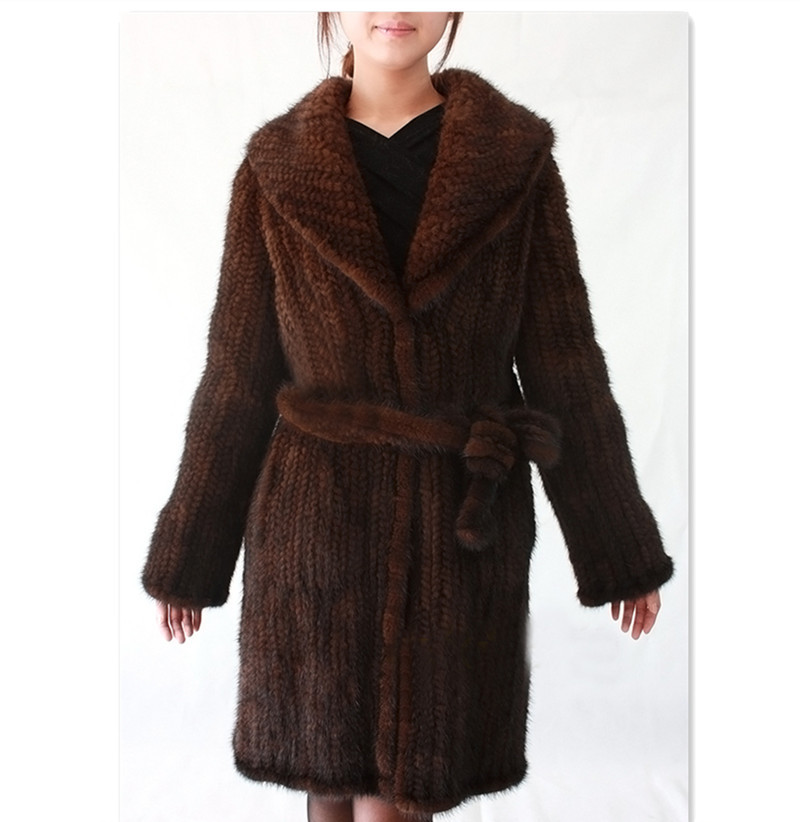 Knitted Fur Mink Coat Natural Fur Coats Warm Winter for Women Real Fur Jackets Customized any size BF-C0346