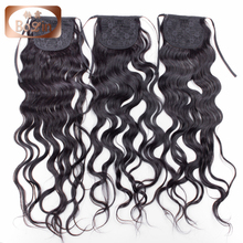 Attractive Seven girls curly natural color 100% human hair ponytail