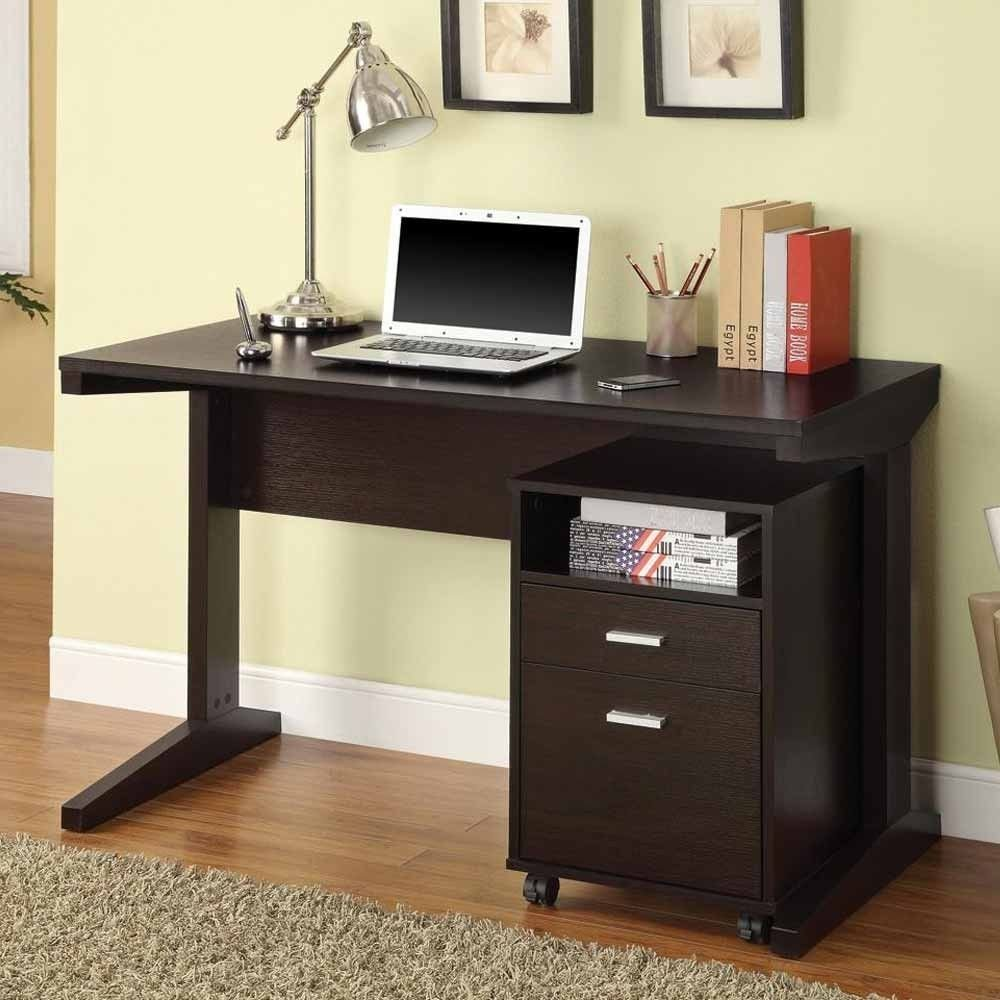 1PerfectChoice 2 Pieces Home Office Writing Computer Desk w/ Rolling File Cabinet Cappuccino