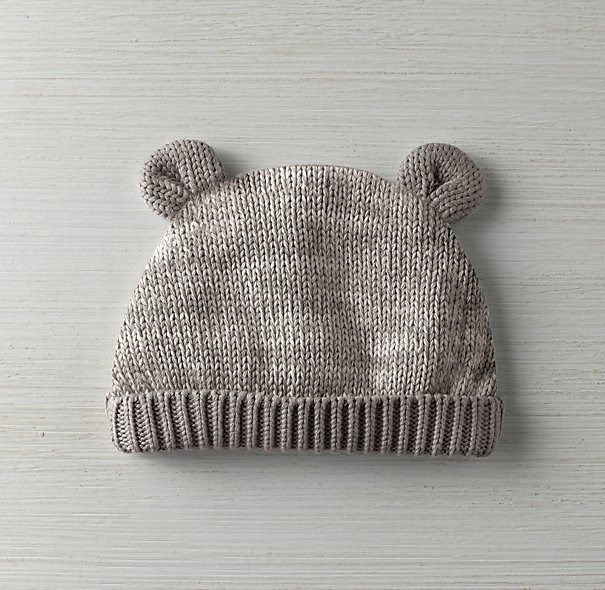 Heathered Organic Cotton Knit Baby Hat