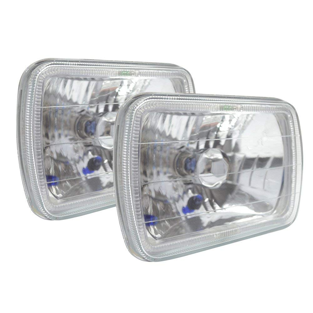 Headlights Replacement For H6054/6052/6054/6014 | 7X6 H4 Bulbs H6014 H6052 H6054 Beam White Halo Diamond Headlights by IKON MOTORSPORTS