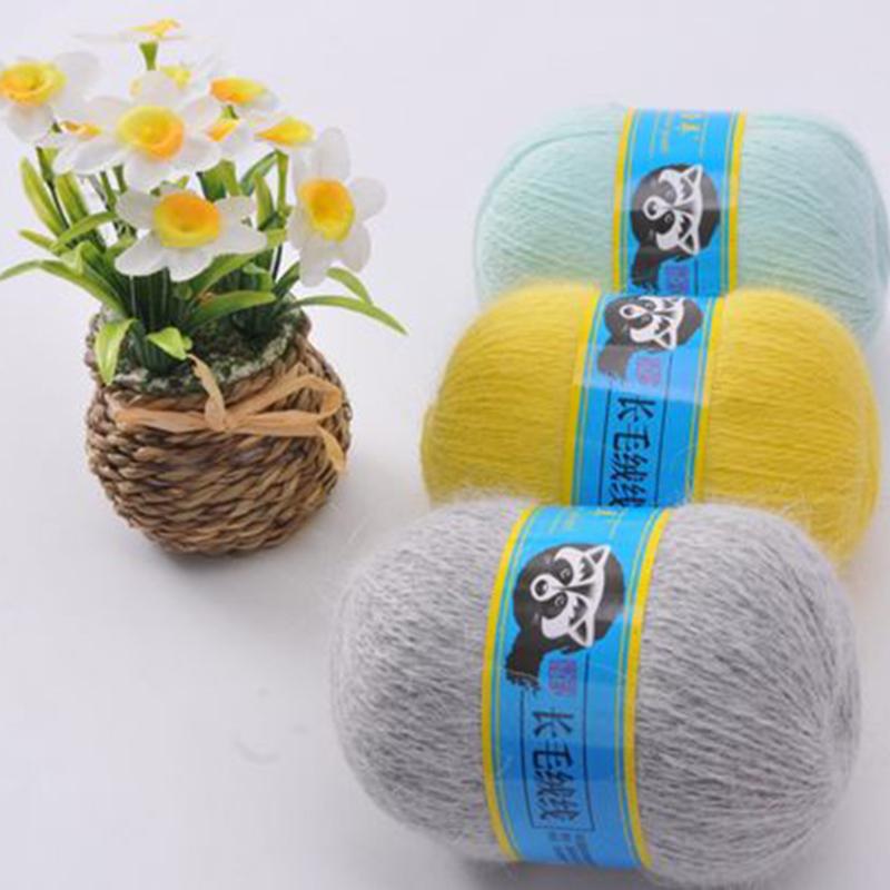 MENCA BRAND Mink Yarns Hand Knitting for Long Hair Yarn Soft with Hair Crochet Thread For Cardigan 50g Yarn and 20g Thread
