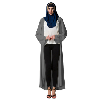 Zakiyyah 1486 Plain simple polyester grey beautiful muslim single coat kaftan dresses