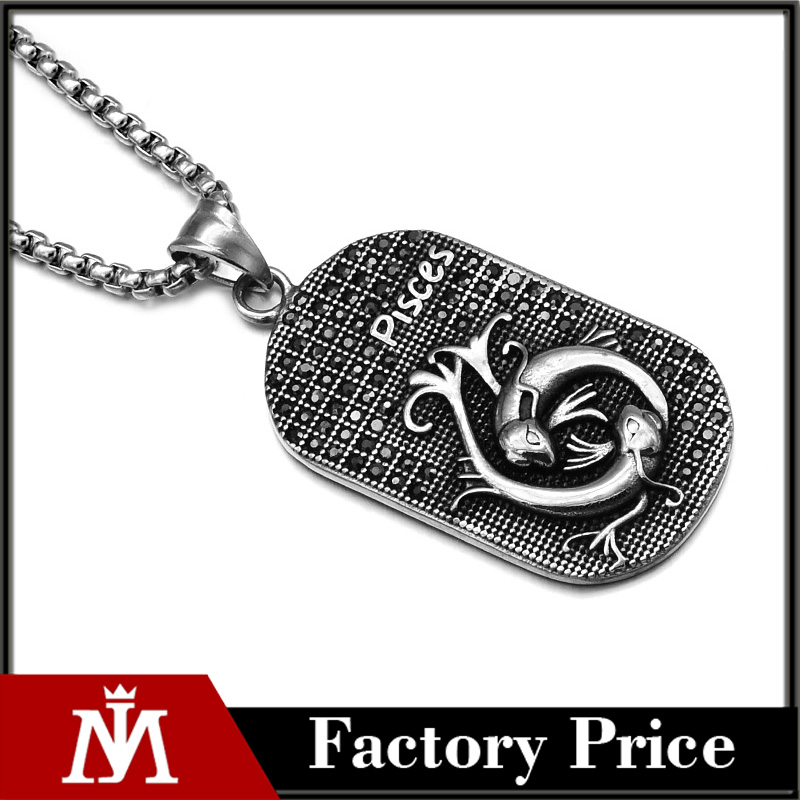 Wholesale Decorative Jewelry Ice Out Pisces Dog Tag Chain Necklace