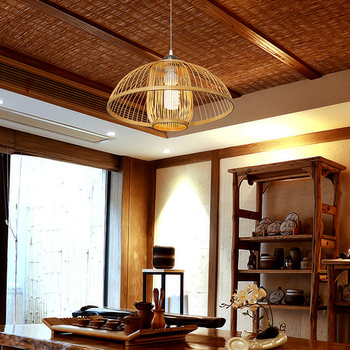Modern Wire Pendant Lights Wooden Bamboo Lighting For Decoration