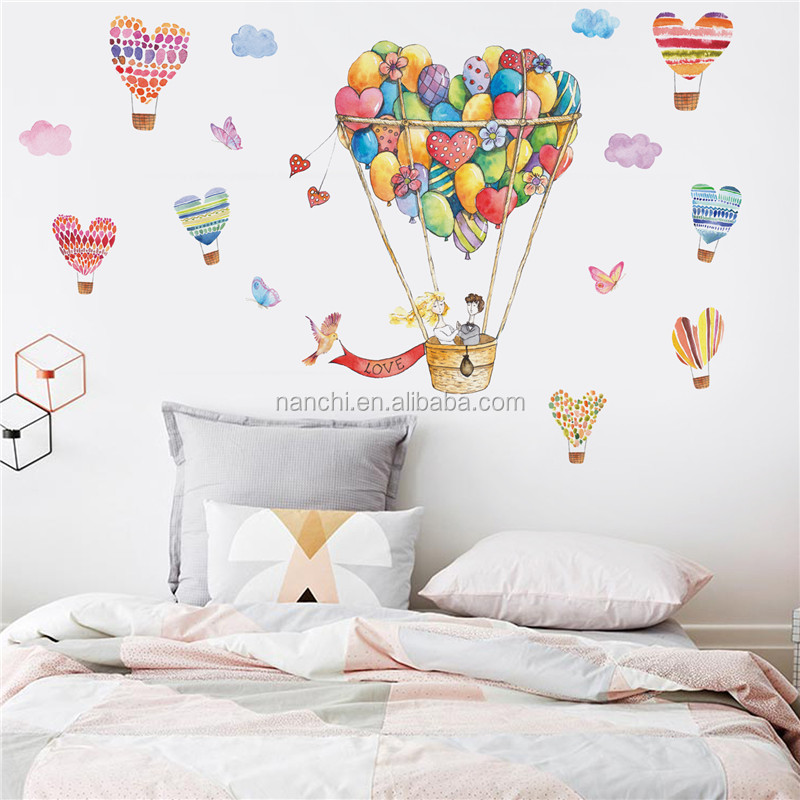 Love hot air balloon wall decals for kids room decoration living room children room wall sticker removable waterproof murals