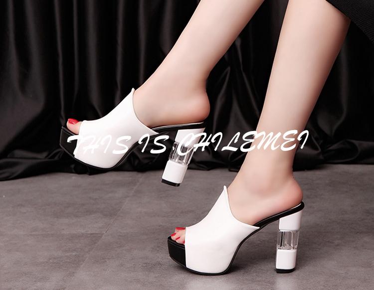 db010d416 Senhoras sexy chinelo verão slides sapatos de salto alto sapatos de festa  de alta plataforma frete grátis mulheres chinelo preto vermelho branco  primavera ...