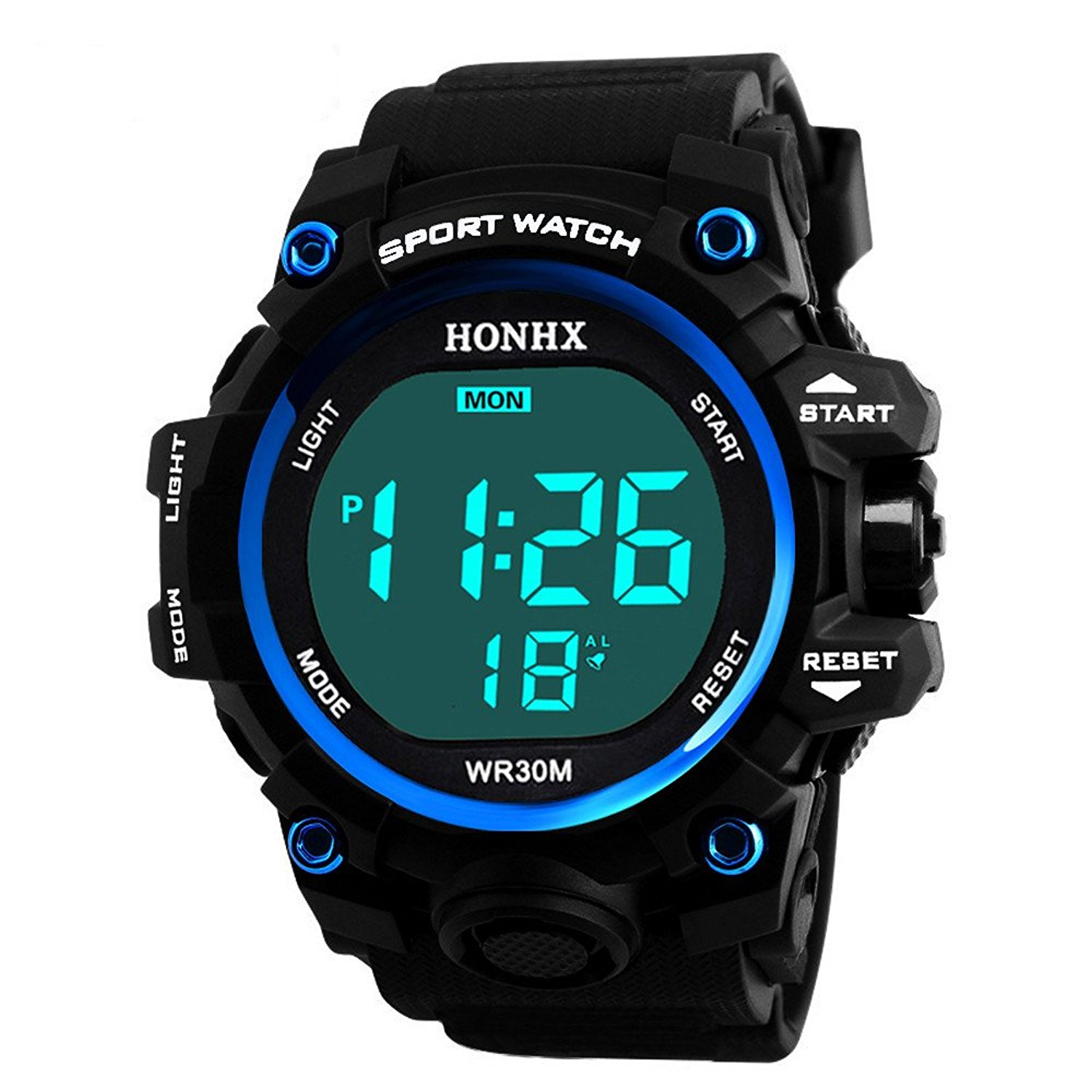 COOKI Mens Digital Sports Watches LED Screen Large Face Waterproof Military Watches and Casual Waterproof Luminous Simple Army Watch Stopwatch Alarm Watches, Mens Watches on Sale Clearance