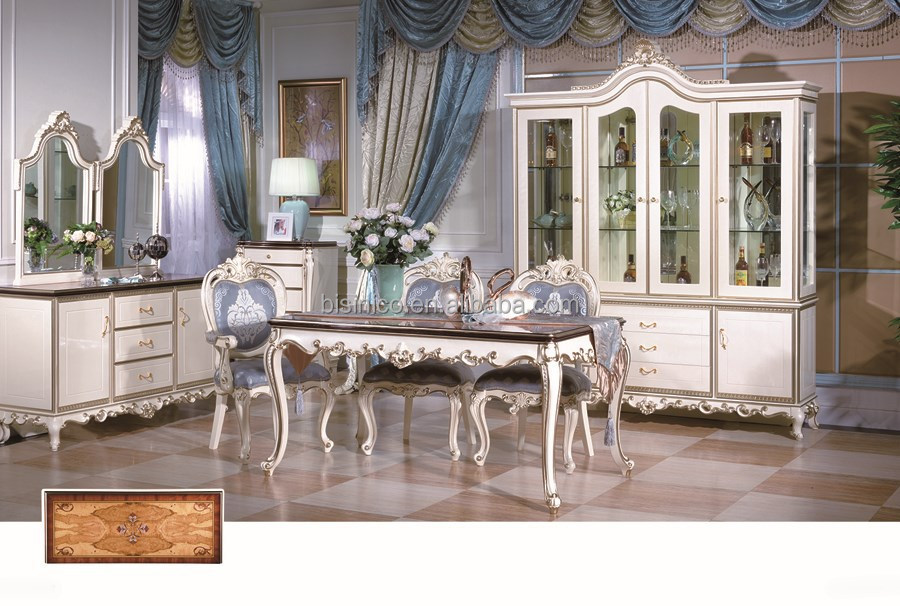 French Style Dining Room Furniture Set Solid Wood Gold Plated Table White