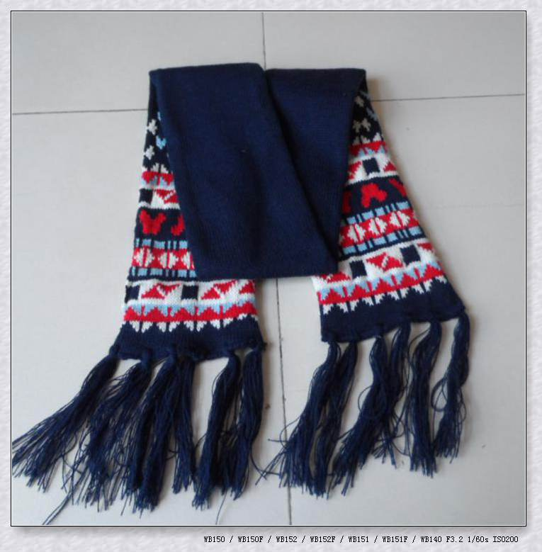 Children's jacquard pattern knit acrylic custom football scarves