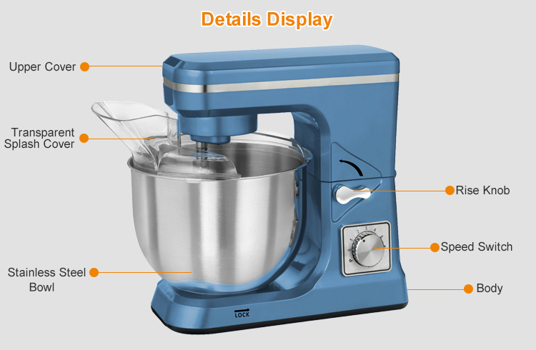 1000W high efficient kneading stand mixer with 5L glass bowl