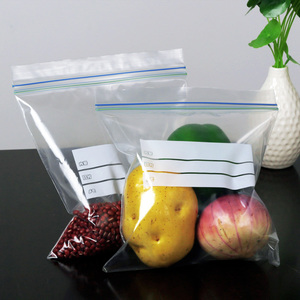 household food freezer storage resealable clear poly ziplock bag/cusotm color line pe zipper bag