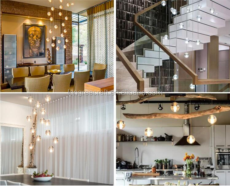 Modern Hanging Warm/white Clear Glass Bubbles LED Ball Crystal Chandelier for Staircase