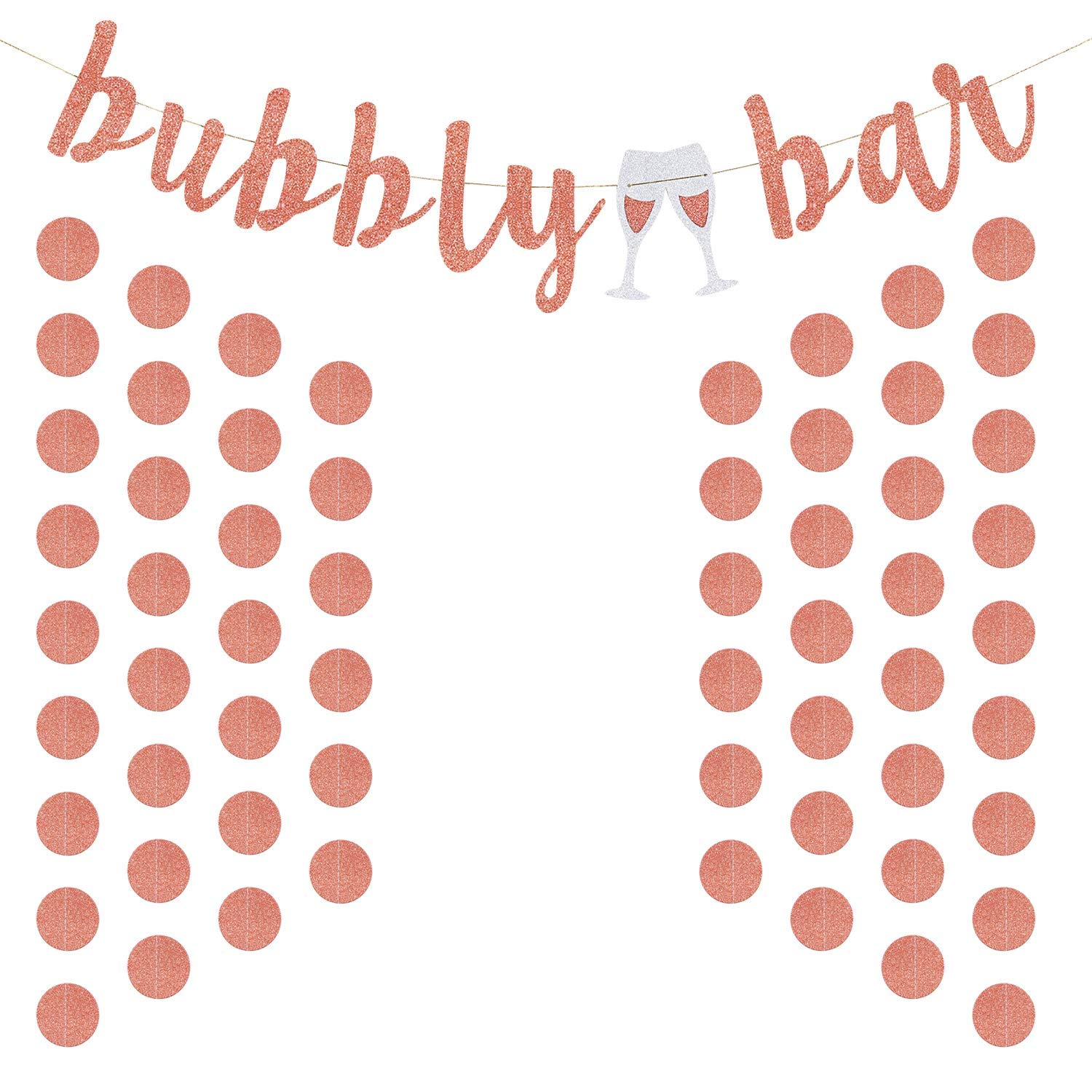 9fcb9cccbbe7 Get Quotations · Jovitec Rose Gold Glitter Banner Bubbly Party Bar Bunting  and Rose Gold Paper Circle Dots Garland