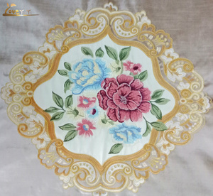 Beautiful rhombus flower Embroidery on high quality woven cut velvet for special design Sofa