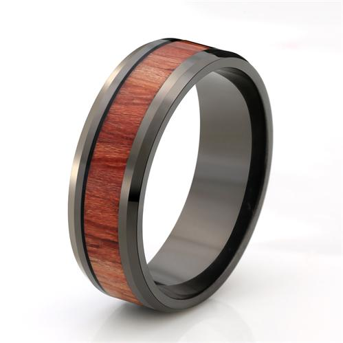 316l stainless steel ring inlay koa wood