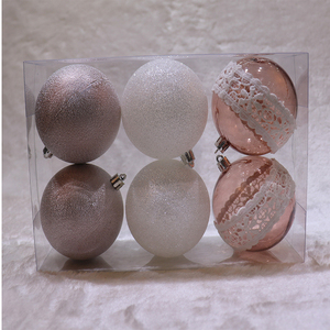 8cm clear painted plastic christmas ball