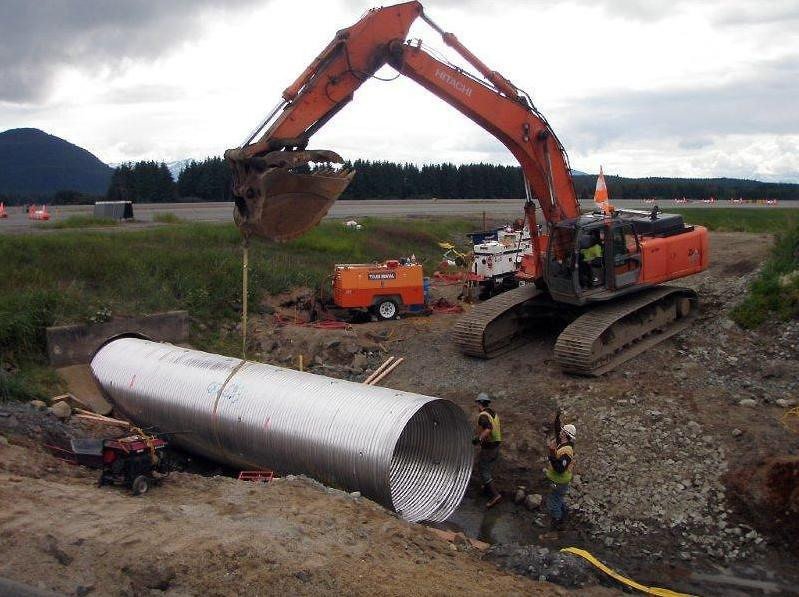 Section with corrugated steel culvert multi plate tunnel