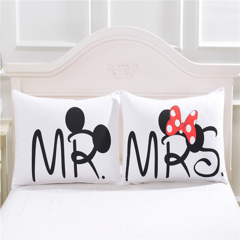 Lenzuola Mickey Mouse Matrimoniale.Wholesale On Sale Heart Body Mickey Mouse Pillow Cover Cotton Home Textiles Valentine S Day Gift Pillowcase Bedclothes Pair 48cmx74cm Standard Pillow