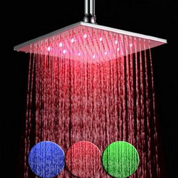 10 Inch Colorful Brushed Nickel Led Rain Shower Head Square Rainfall Showerhead Stainless Steel No Need Battery