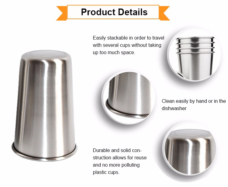 Factory price 304 Stainless Steel 500ml Pint Cups made in China