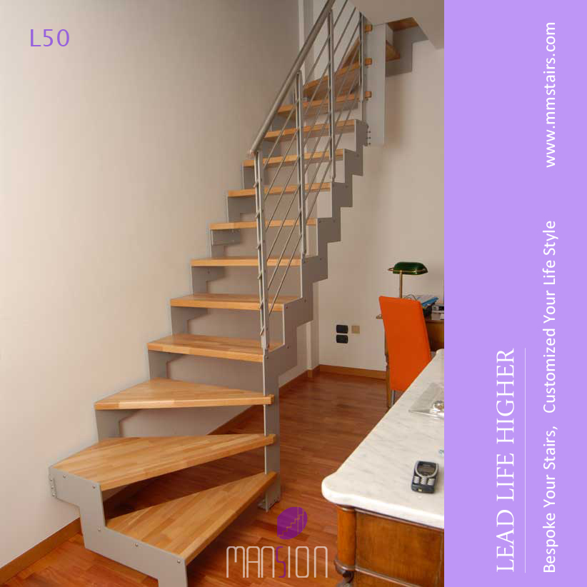 Mistral Indoor L Shape Steel Wood Stairs