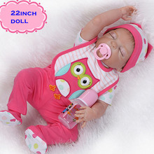 New 22inch Soft Full Silicone Reborn Baby Dolls Of NPK Brand Cute Toys Girls Dolls Baby As Birthday Gift Brinquedos For Children