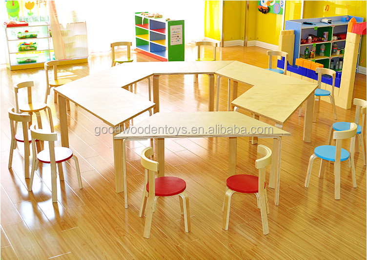 High Quality Wood Preschool Kids Baby Cartoon Table And Chairs