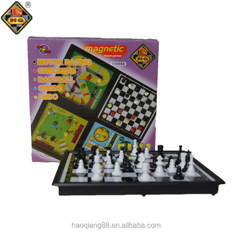 5 in 1 folding magnetic baseball chess game/motorracing /chess checker set/ ludo