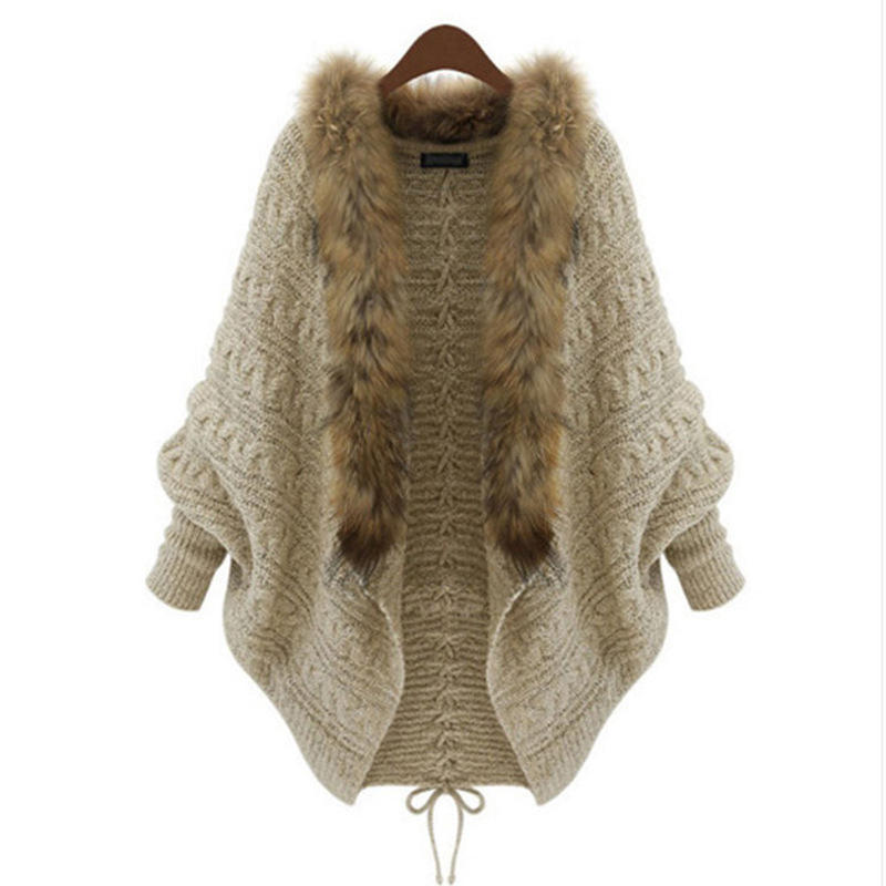 Girls Fur Collar Cardigan Poncho Capes Femme Outwear Tricot Women Knitted Wool Oversized Sweater Batwing Sleeve Shrug MX981