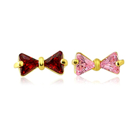 316L Surgical Steel Red and Pink Zircon Bowknot Shaped Cartilage Tragus Piercing Ear Studs