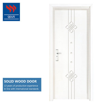 4 Panel Veneer Wooden Flush Doors With Gl Flat Solid Wood Interior